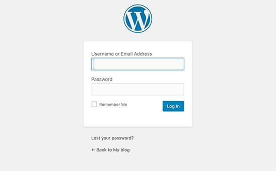 Layar login WordPress default