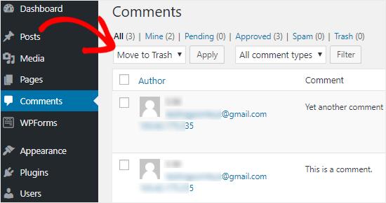 Delete all WordPress comments