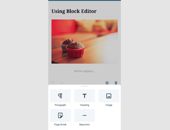 Editing with the block editor in WordPress app