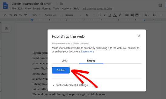 Нажмите «Опубликовать», чтобы найти код для встраивания в Google Doc.