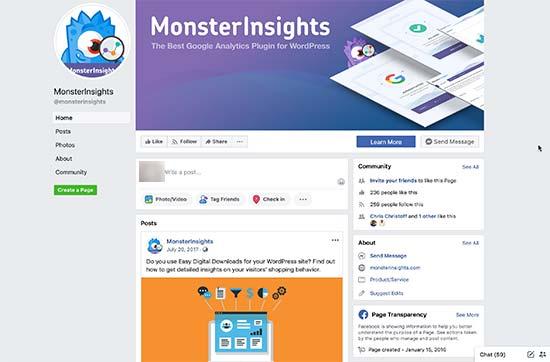 Пример страницы в Facebook с обложкой, профилем и фотографиями