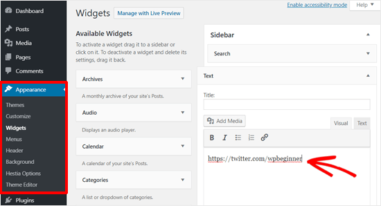 Paste Twitter Profile URL to WordPress text widget