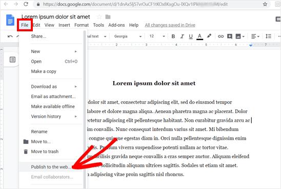Публикация в веб-варианте в Google Doc