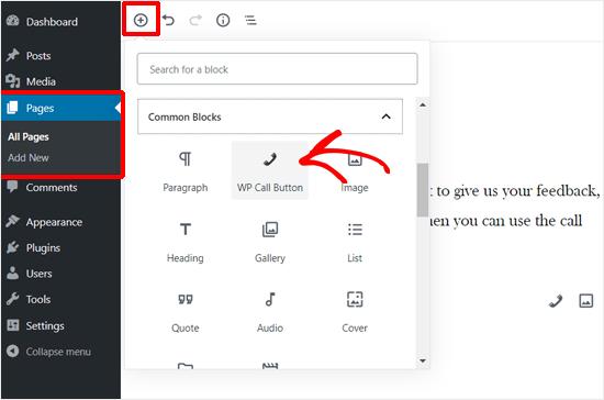 Adding WP Call Button Block in WordPress