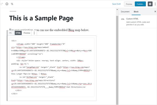 Bing Map Embed Code Added in WordPress Editor