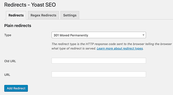 Redirects manager in Yoast SEO