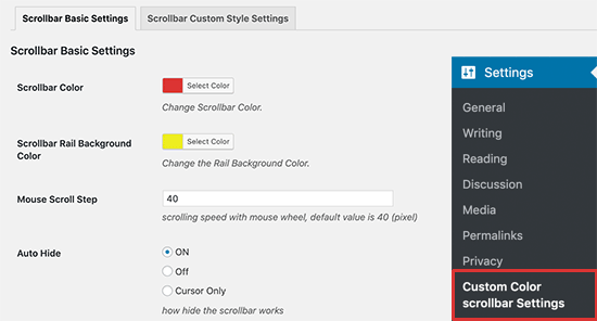Scrollbar color and background settings