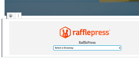 RafflePress block settings