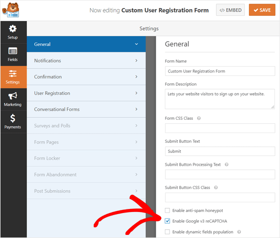 Enable Google reCAPTCHA on WordPress Custom Registration Form
