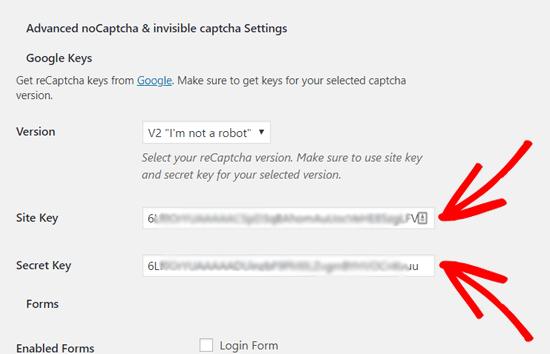 Enter Site Key and Secret Key to Add reCAPTCHA to WordPress