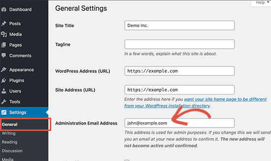 Change admin email address