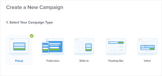 Choose a campaign type for your coupon popup