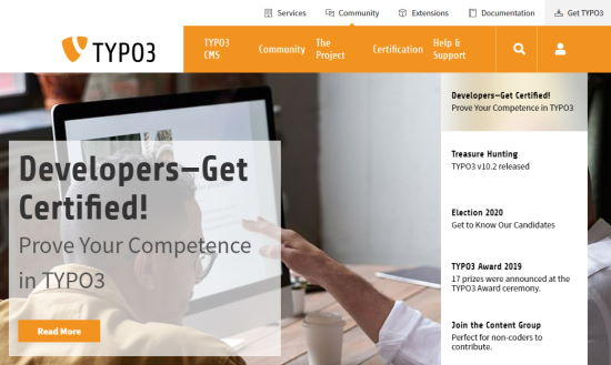 The TYPO3 front page