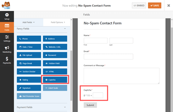 Adding a custom captcha field to your form