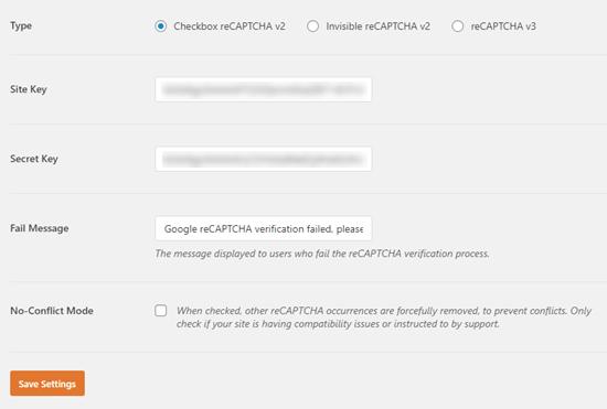 Memasukkan kunci situs dan kunci rahasia Anda ke WPForms