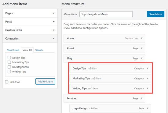 Putting the categories under the 'Blog' menu item