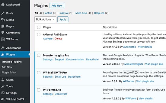 Installed and active plugins