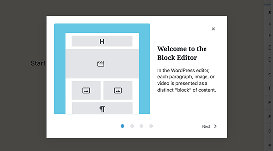 Welcome modal in WordPress 5.4