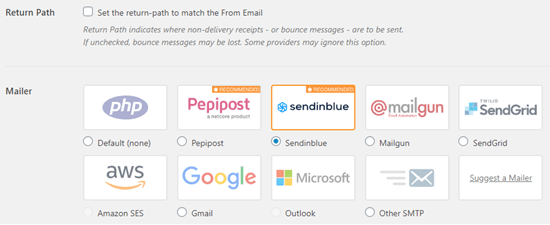 Select Sendinblue as your mailer in WP Mail SMTP