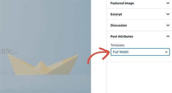 Memilih template saat menulis satu posting