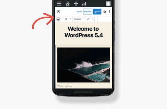 Bilah alat seluler di WordPress 5.4