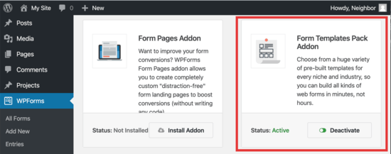add the WPForm templates addon