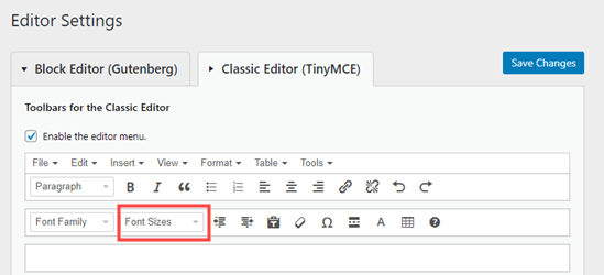 The font sizes drop-down button on the TinyMCE Advanced menu for the classic editor