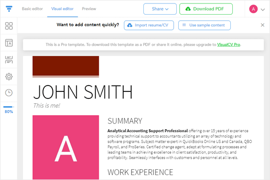 Creating a resume using pre-written content
