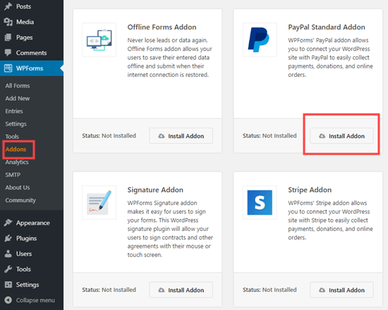 Installing the PayPal addon for WPForms