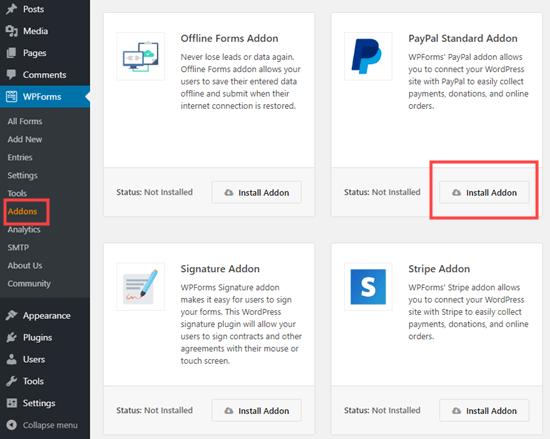 Menginstal addon PayPal untuk WPForms