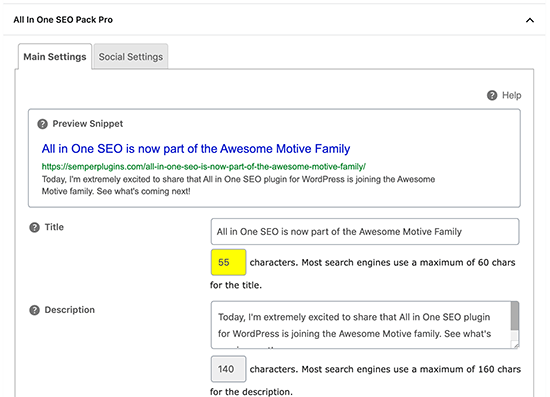 All in One SEO Pack Meta Box