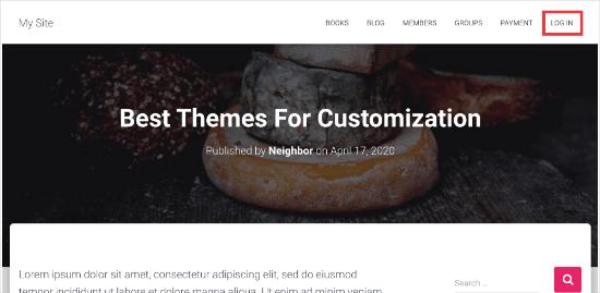 Login link in menu