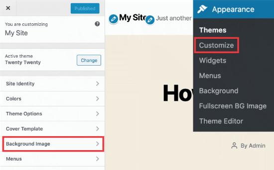 Background image option in WordPress theme customizer