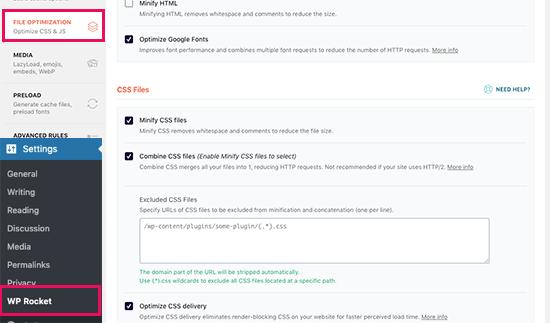 CSS Optimization settings in WP Rocket