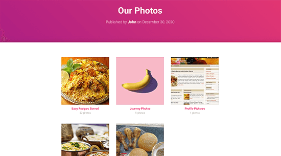 Facebook albums displayed in a grid layout