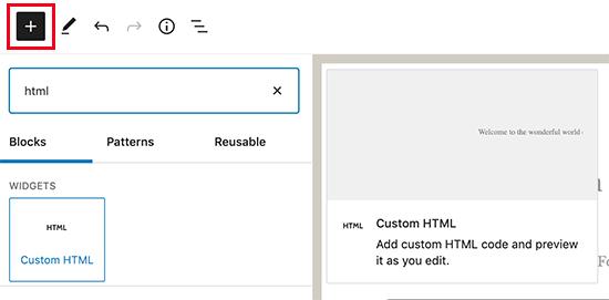 Menambahkan blok HTML khusus di WordPress