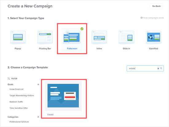 Choose the fullscreen campaign type and then pick a template