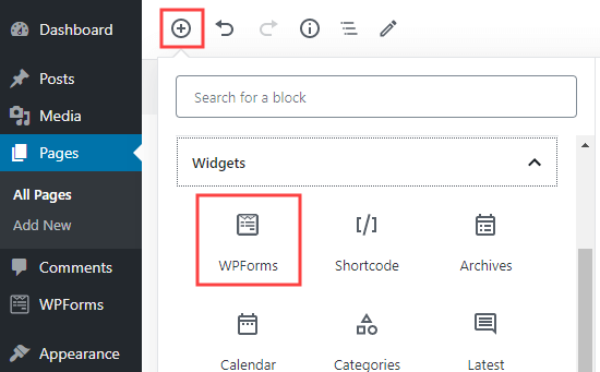 Adding a new WPForms block to a page in WordPress