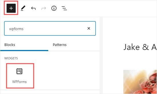 Sayfanıza bir WPForms bloğu ekleme