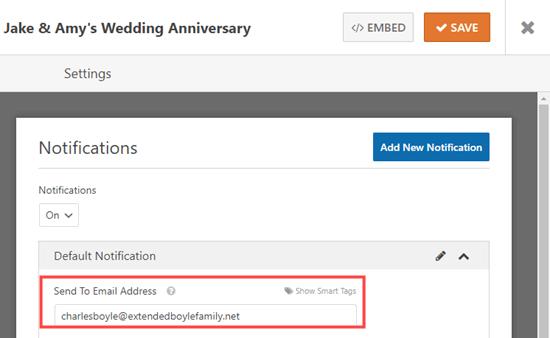 LCV formunuz için Gönder e-posta adresini değiştirme