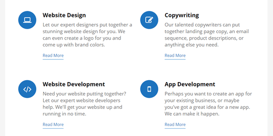 Completed services section, with blue icons and blue links