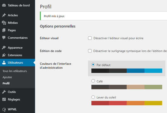 The WordPress admin area shown in French