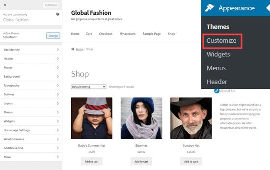 Penyesuai tema WordPress, menampilkan halaman toko utama
