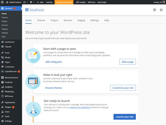 Area admin WordPress Anda