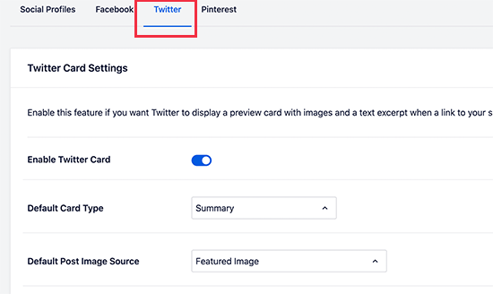 Turn on Twitter Card settings in AIOSEO