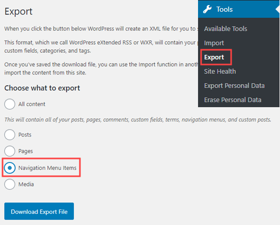 The Export Navigation Menu Items option in the Export tool