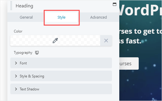 Changing the Style settings for a Beaver Builder module