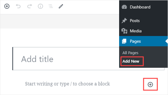 Creating a new page in WordPress and adding a new block to it
