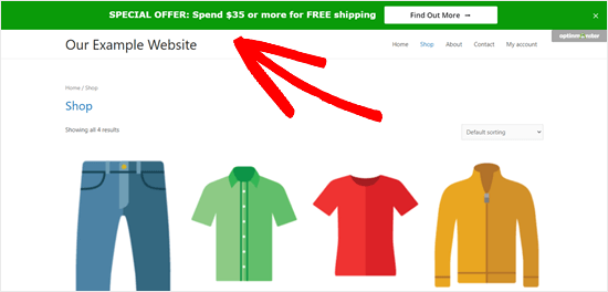 Free shipping bar example