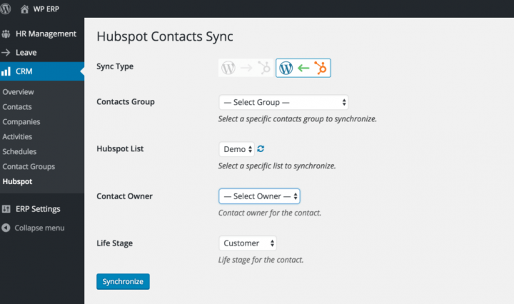 Import Hubspot Contacts and Subscribers to WP ERP CRM Module
